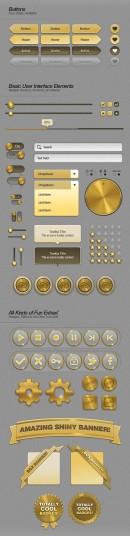 金色系界面元素PSD素材