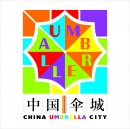 彩色时钟雨伞元素logo