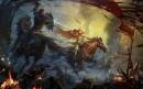 故事场景插画-马背上的搏杀