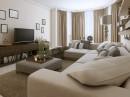 客厅沙发电视机与茶几