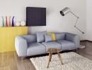 房间沙发凳子与落地灯