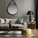 房间沙发枕头茶几台灯
