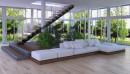 白色组合沙发与楼梯