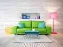 绿色沙发与粉红色落地灯