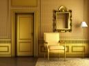 金色的房门与落地灯