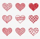红色花纹爱心图标