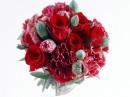 一束红色玫瑰花和康乃馨