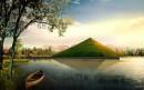 绿色金字塔建筑效果图