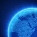 蓝色数码商务世界地图