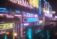 【要上线】霓虹灯夜景表现—C4D+OC场景《东京街头》渲染案例教学【实时答疑】