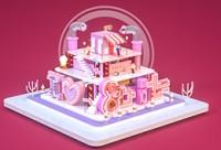 C4D 電商KV場景搭建《熱愛這座城》情人節粉色場景制作