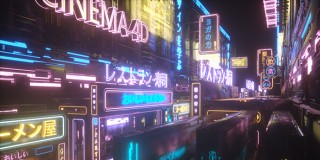 C4D 霓虹灯街景大场景表现《东京街头》节点编辑器探索综合案例【实时答疑】