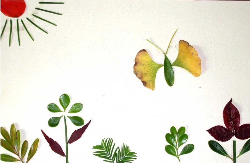 创意树叶拼贴画花园图片