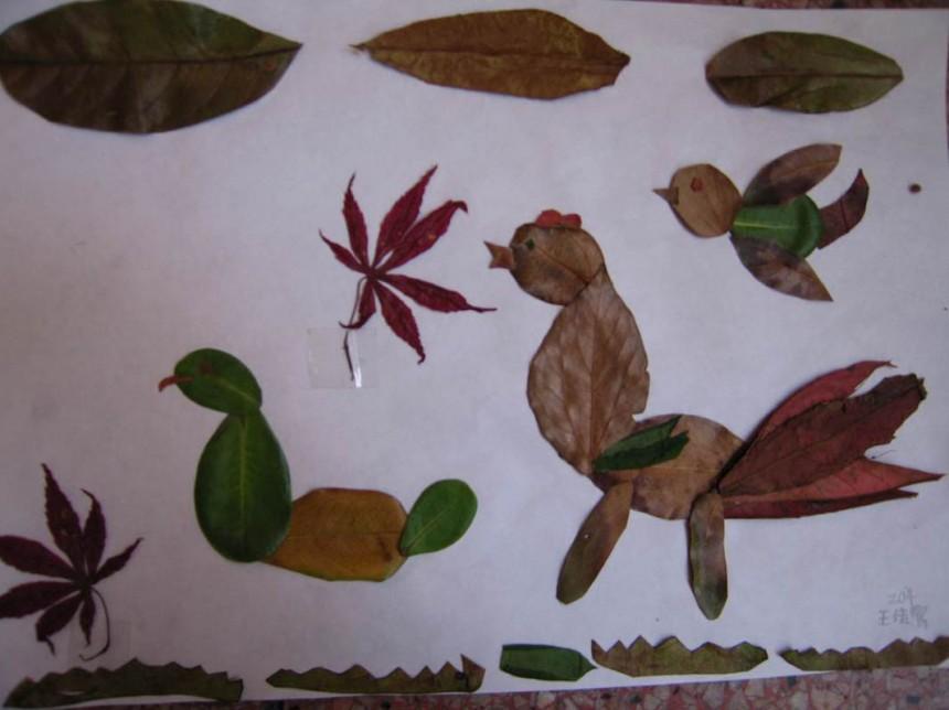 创意树叶拼贴画鸟儿图片