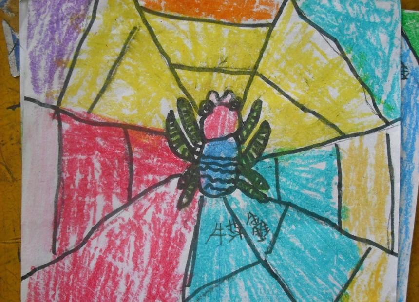 创意蜡笔画蜘蛛网