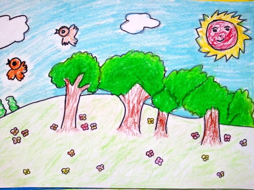 創意鉛筆畫春天來了,兒童鉛筆畫作品-翼狐網