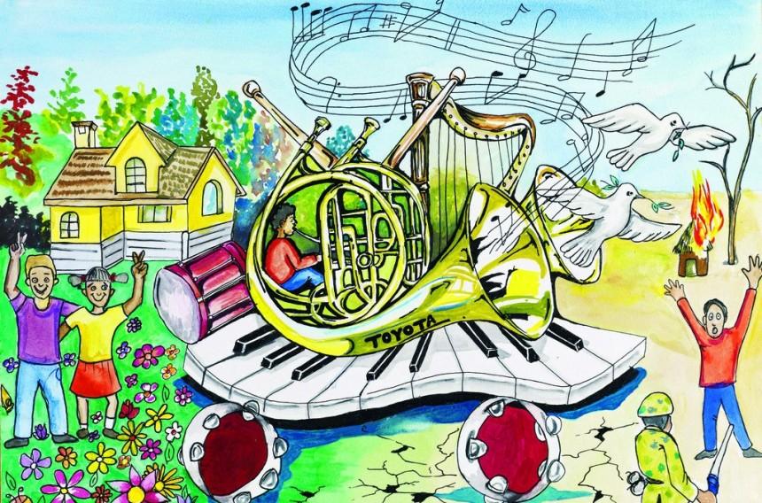 创意铅笔画美妙乐队图片