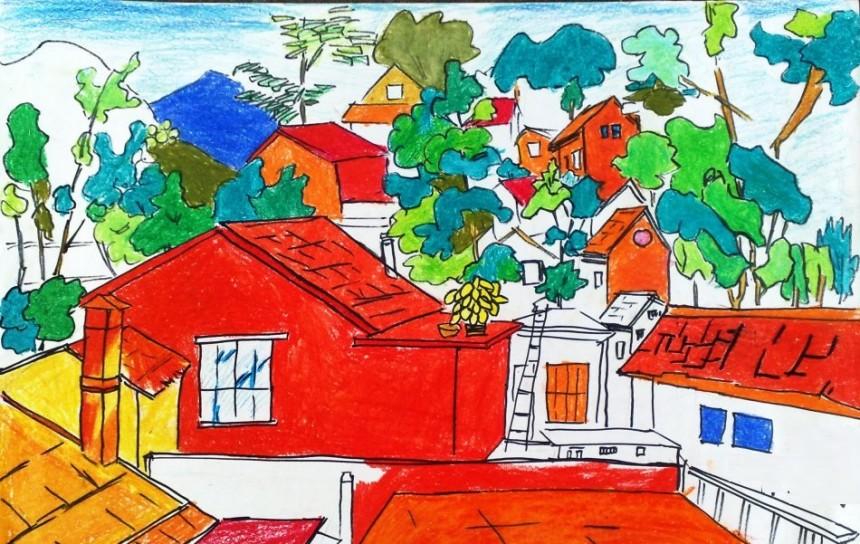 创意蜡笔画红房子