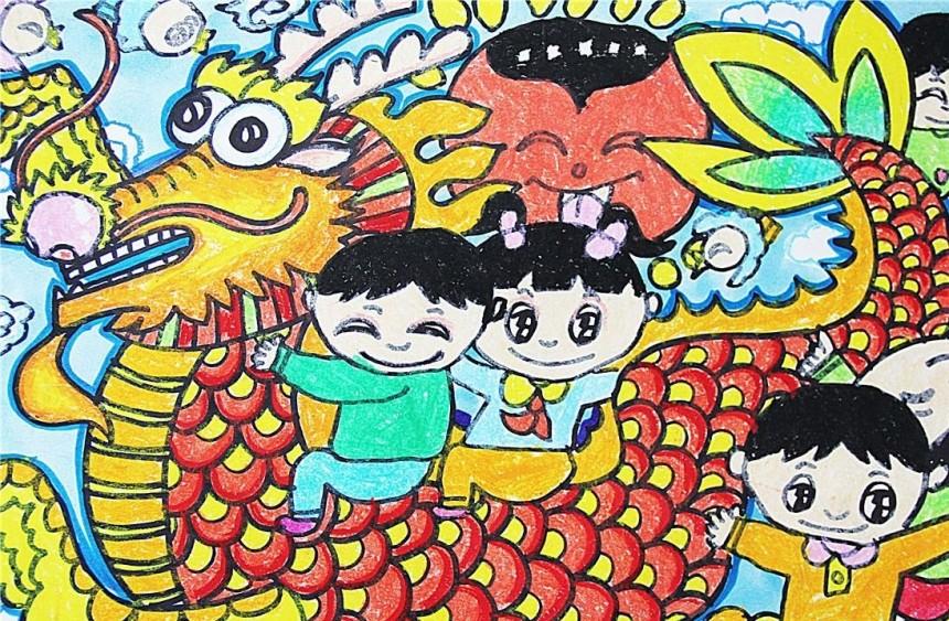 快乐龙舟节儿童画创意图片