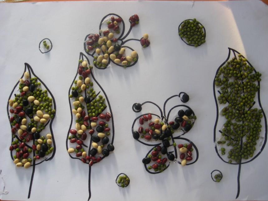 种子贴画_创意种子拼贴画春天