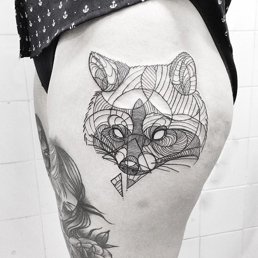 几何线条狐狸头,纹身艺术-翼狐网