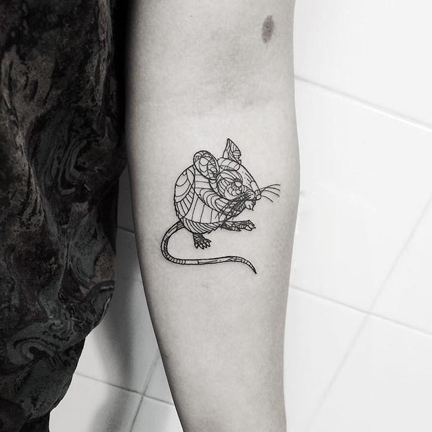 几何线条老鼠,纹身艺术-翼狐网图片