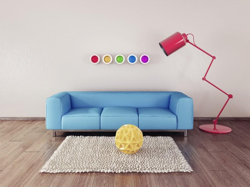 蓝色沙发与红色落地