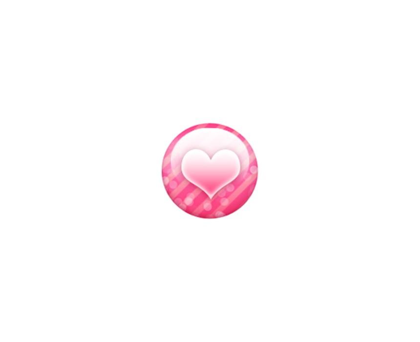 粉色圆圈爱心图标
