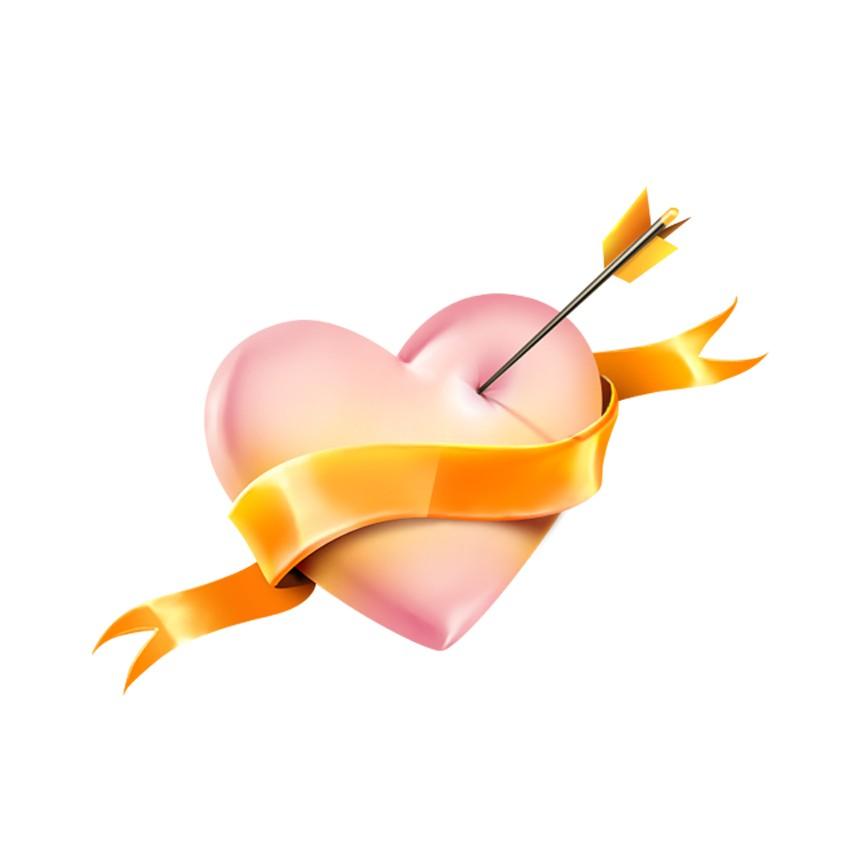 金色绶带箭头爱心图标
