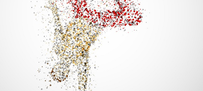 人在场景化为粒子分散开