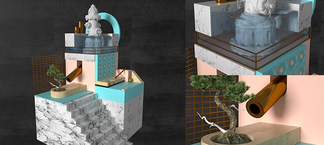 C4D小场景布景建模与渲染风格化教学