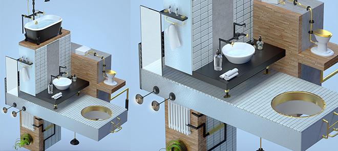 C4D 创意室内设计《异次元空间》场景搭建渲染全流程
