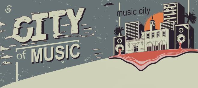音乐之城手绘插画设计