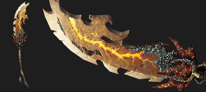 手绘游戏小道具《烈焰朴刀》黑暗系风格模型制作