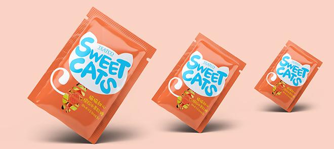 小零食包装袋设计《猫猫甜心》从图形的绘制到镂空效果图的制作