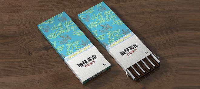C4D+PS插口式盒型包装设计《祥云筷子》从平面到材质表现