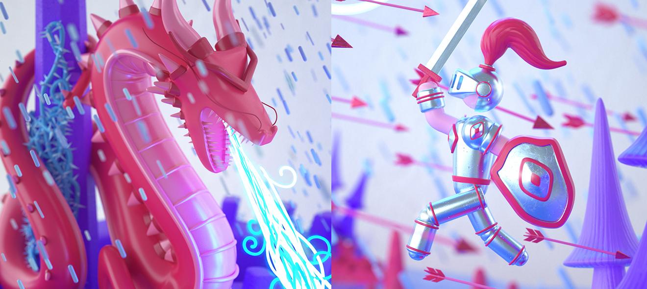 C4D 断剑重铸日《龙域骑士》归来时游戏开场动画场景搭建