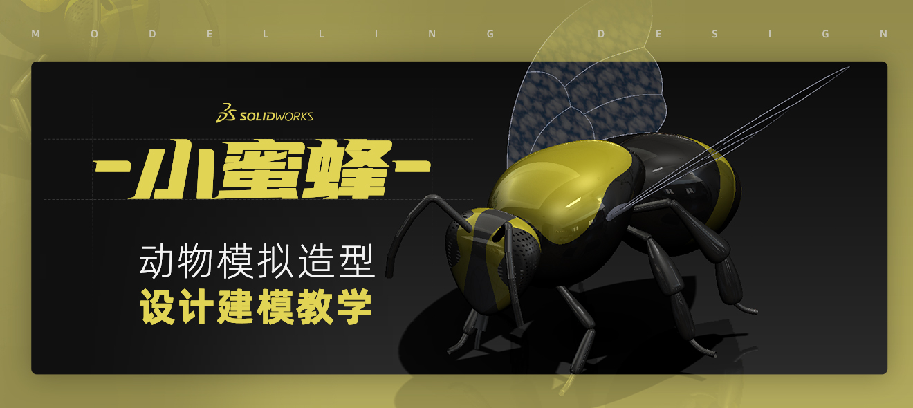 SolidWorks小蜜蜂动物模拟造型设计建模教学