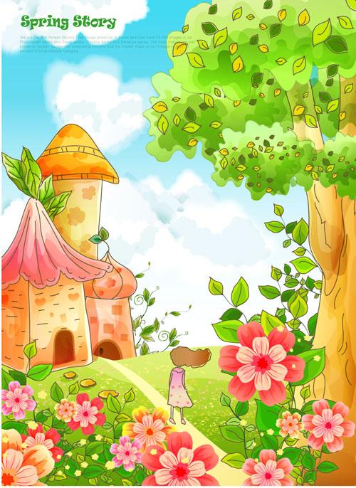 可爱卡通风景背景素材