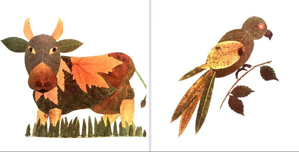 创意树叶动物拼贴画