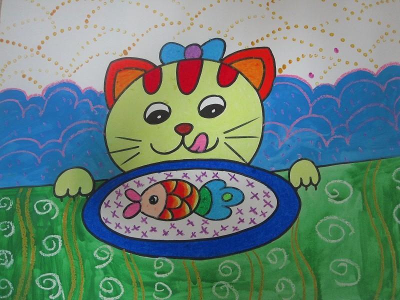 创意蜡笔画小猫吃鱼