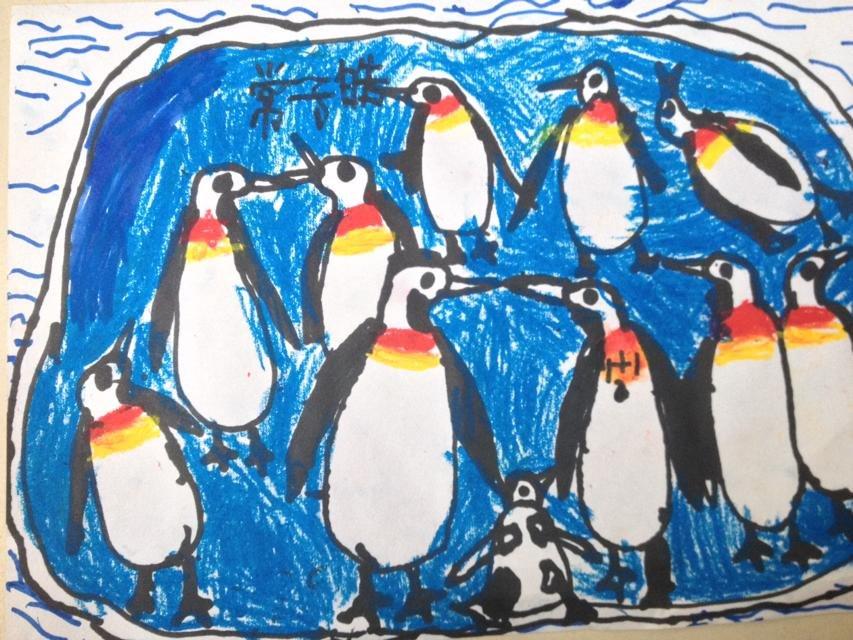 创意蜡笔画快乐小企鹅