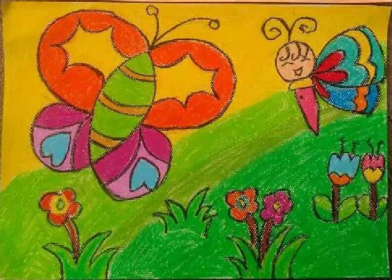 创意蜡笔画蜜蜂采蜜
